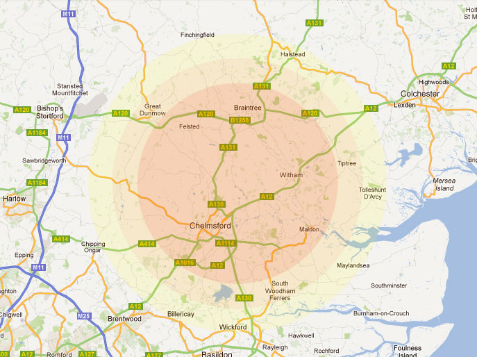 Map of the 15 mile radius that CM Driving offers driving ...  Mile Radius Map on